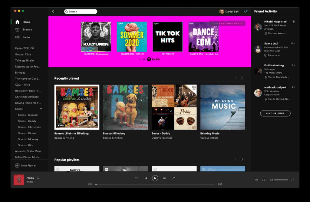 Screenshot af Spotify Desktop app på macOS 11 Big Sur
